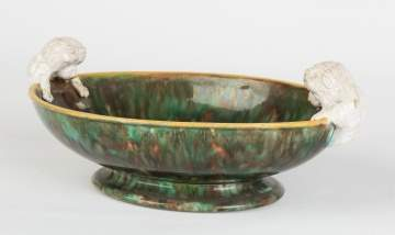 English Majolica Oval Bowl with Dog Handles