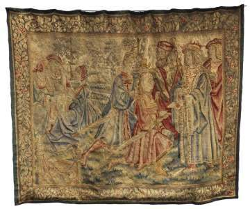 Large Tapestry Depicting Court Figures