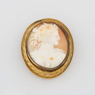 Victorian Gold Mounted Cameo Brooch