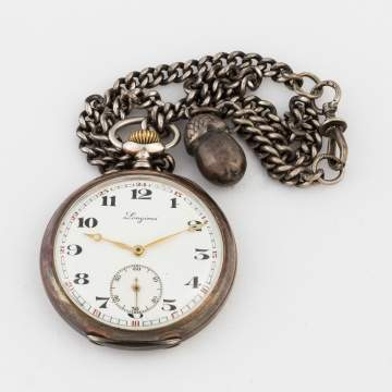 Longines Coin Silver Open Face Pocket Watch