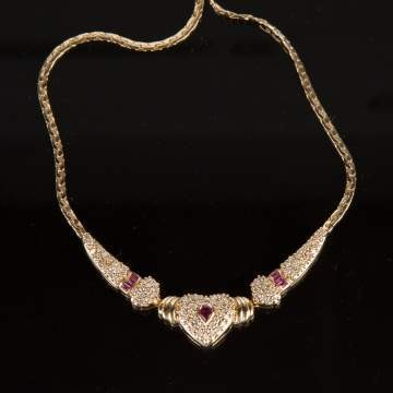 Gold & Ruby Heart Shaped Necklace