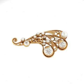 Antique Diamond and Pearl 18K Gold Brooch