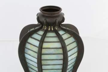 Early Tiffany Studios Leaded Glass and Bronze  Lantern Shade
