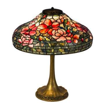 Fine Tiffany Studios Peony Table Lamp
