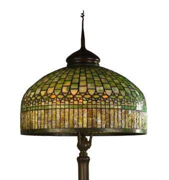 Tiffany Studios Curtain Border Leaded Glass Lamp
