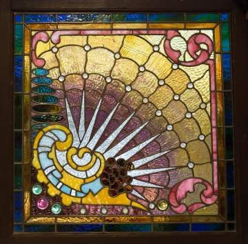 Leaded Glass and Jeweled Window with Nautilus Shell Design