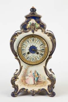 French Hand Painted Porcelain Clock