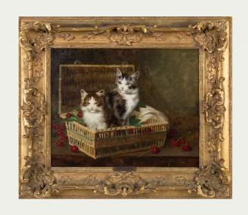Jules Gustave Leroy (French, 1856-1921) Kittens in a Basket of Cherries