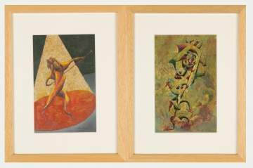 David Secon (20th Century) Two Gesso Paintings