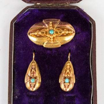 Gold and Turquoise Brooch and Earrings