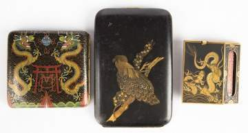 Japanese Mixed Metal Match Safe and Two Cigarette Cases