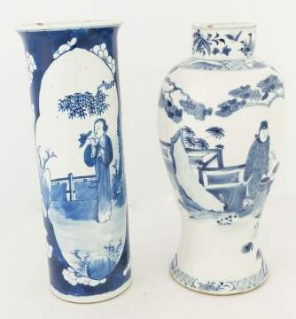 Two Chinese Blue and White Decorated Vases
