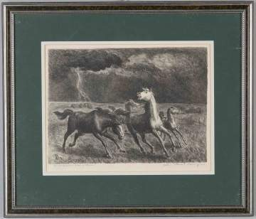 "John Steuart Curry (American, 1897-1946) ""Horses Running Before a Storm"""