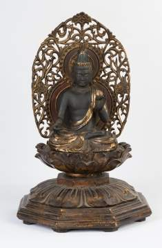 Carved and Gilded Asian Buddha on Lotus Leaf Base