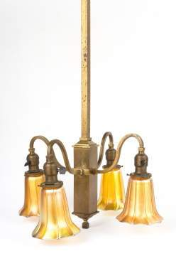 Arts and Crafts Brass Fixture with Signed Quezal Shades