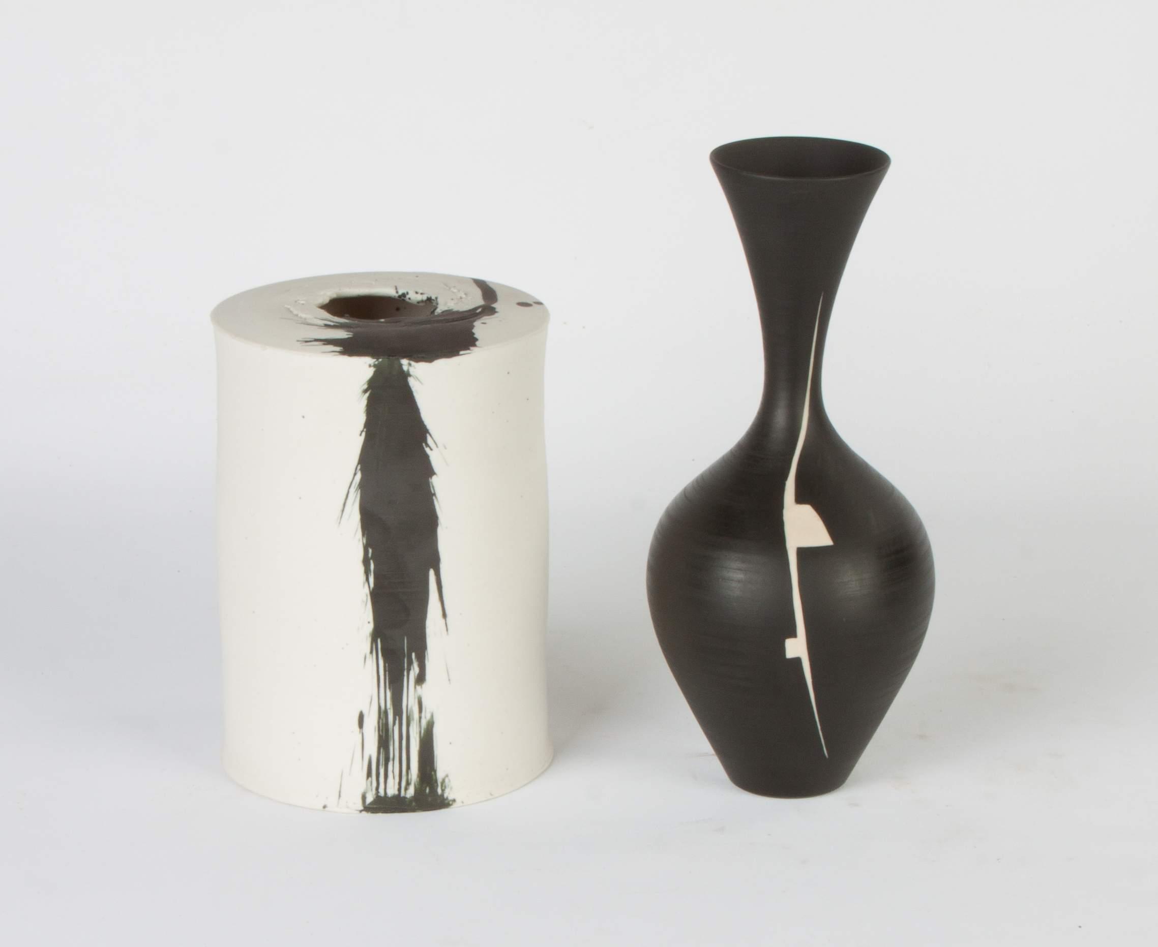 Two black and white contemporary ceramic vases cottone auctions two black and white contemporary ceramic vases reviewsmspy