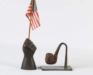 Cast Iron Hand & Carved Burl Pipe