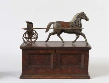 Tin Horse Draw Cart and Miniature Painted Chest