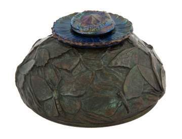 Rare Tiffany Studios Bronze Butterfly Inkwell