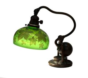 Tiffany Studios NY Counter Balance Lamp with Intaglio Carved Shade