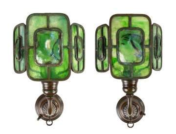 Pair of Tiffany Studios Bronze and Leaded Three Panel Turtleback Sconces