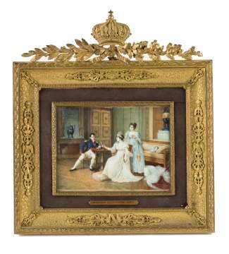 "Miniature Watercolor Painting of Napoleon in Fine Gilt Bronze Frame ""Josephine Trying on the Crown"""