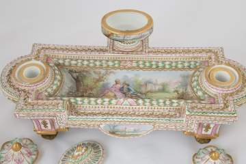 French Hand Painted Porcelain Desk Stand