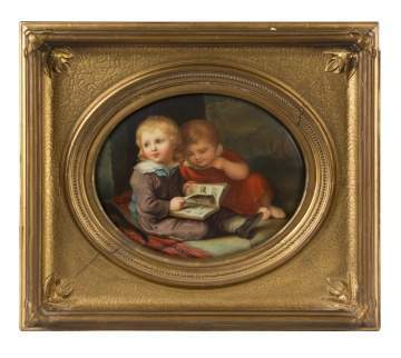 KPM Painting on Porcelain of Children Reading a Book