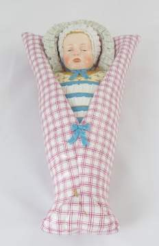 Unusual Meissen Hand Painted Porcelain of a Swaddled Baby