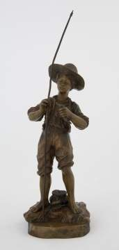 Georges Omerth (French, fl. 1895-1925) Bronze Sculpture of a Fisher Boy