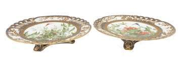 Pair of Coalport Porcelain Tazzas