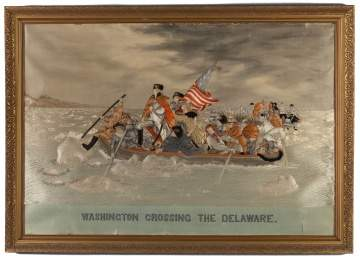 Needlework and Trapunto on Silk of Washington Crossing the Delaware