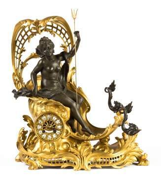 "French Shelf Clock, ""Amphitrite's Chariot Drawn by  Dolphins"""