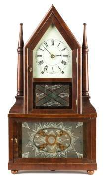 Birge and Fuller Double Steeple Candlestick Shelf  Clock
