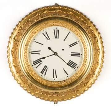 Brewster and Ingram Gilt Gallery Clock