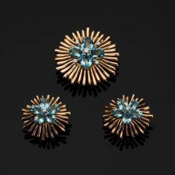 Cartier Aquamarine and Diamond 14K Gold Clip Brooch and Earrings
