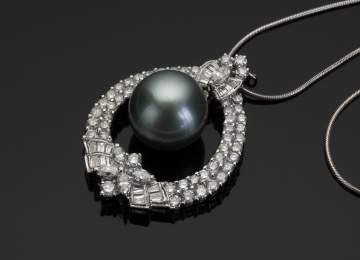 Tahitian Pearl and Diamond Tear Drop Shape Pendant
