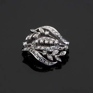 Diamond and 14K White Gold Brooch