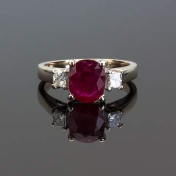 18K White Gold, Natural Ruby and Diamond Ring