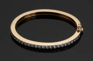 14K Yellow Gold and Diamond Hinged Bracelet
