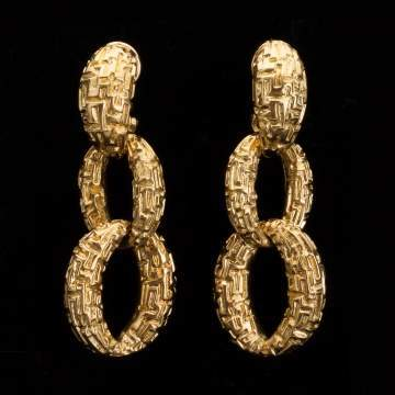 18K Gold Textured Earrings