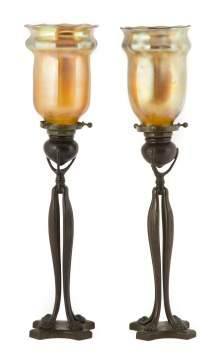 Pair of Tiffany Studios NY Paw Foot Bronze Candle  Lamps