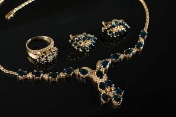 Sapphire & Diamond 14K Gold Necklace, Earring & Ring