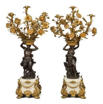 Pair of French Marble, Gilt Bronze and Bronze Figural Candelabra