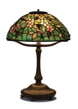 Tiffany Studios New York Apple Blossom Leaded Glass and Bronze Table Lamp