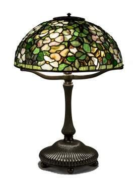 Fine and Rare Tiffany Studios New York Dogwood Leaded Glass and Bronze Table Lamp