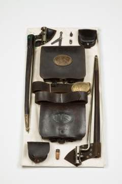 Display of 1858 Cartridge Boxes, Belts and Bayonets