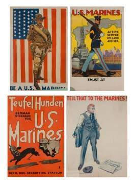 Four Vintage Marine Posters