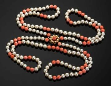 Double Strand Coral and Cultured Pearl Necklace