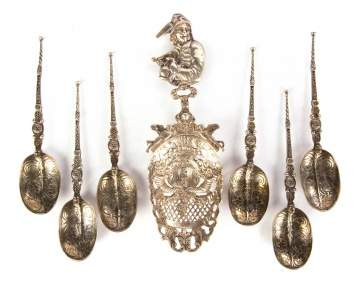 Six Spoons Stamped HCD with 800 Silver Serving Spoon